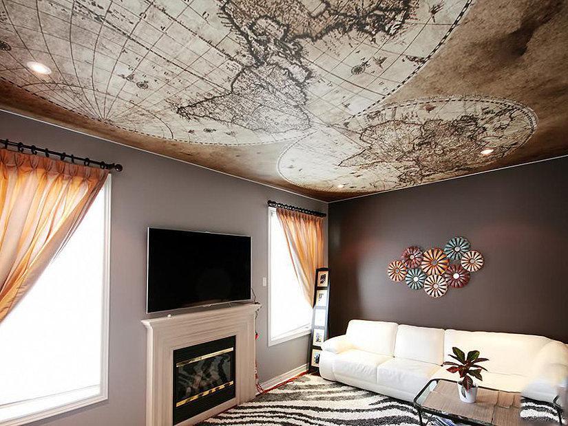 Натяжные потолки с фотопечатью в гостинной
